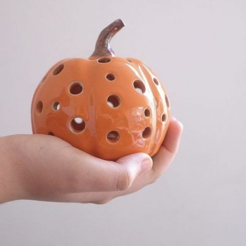 Lindy Garner Ceramics - Ceramic Pumpkin Tealight Holder